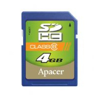 - Apacer SecureDigital High Capacity card 4GB Class6